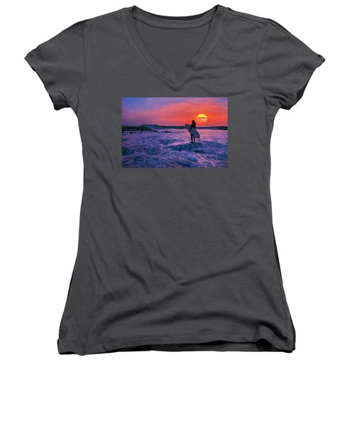 Women's V-Neck T-Shirt (Junior Cut) featuring the photograph Surfer On Rock Looking Out From Blowing Rocks Preserve On Jupiter Island by Justin Kelefas