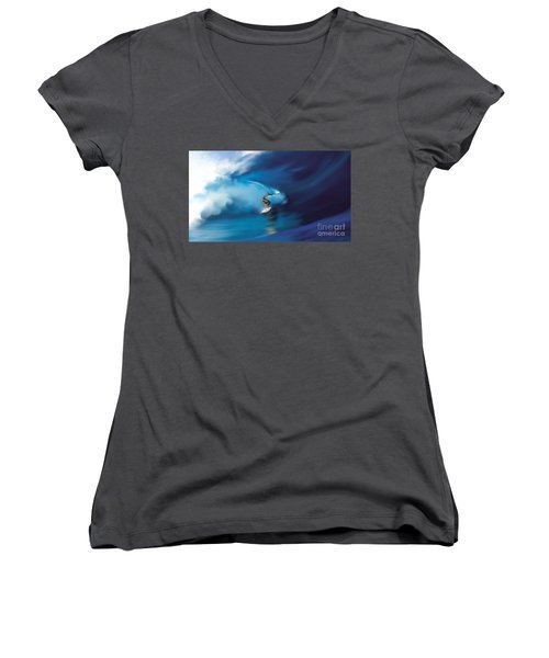 Women's V-Neck T-Shirt (Junior Cut) featuring the digital art Surfers Playground by Anthony Fishburne