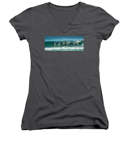 Surfing Dolphins 4 Women's V-Neck (Athletic Fit)