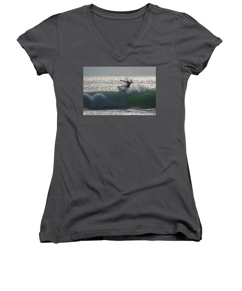 Women's V-Neck T-Shirt (Junior Cut) featuring the photograph Surfing The Light by Thierry Bouriat