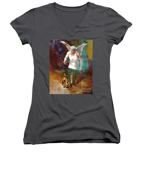Women's V-Neck T-Shirt (Junior Cut) featuring the painting Surreal Art  by Gull G
