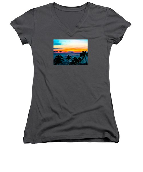 Surreal Sunset Women's V-Neck T-Shirt (Junior Cut) by Russell Keating