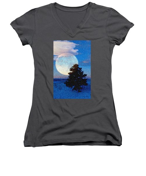 Surreal Winter Women's V-Neck T-Shirt (Junior Cut) by Ruanna Sion Shadd a'Dann'l Yoder
