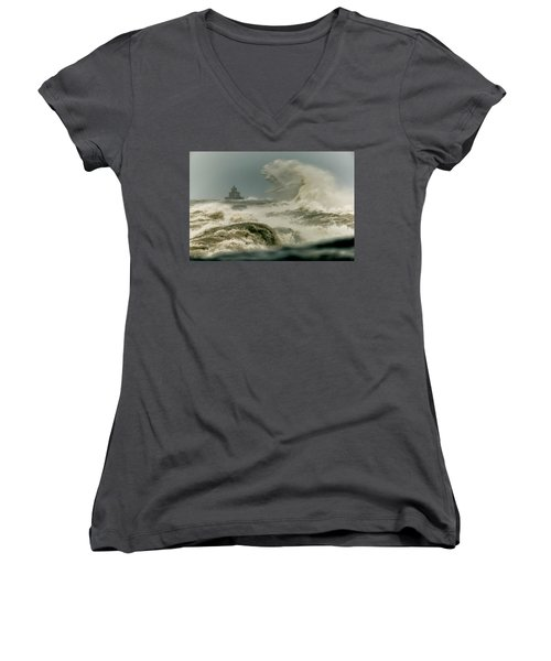 Women's V-Neck T-Shirt (Junior Cut) featuring the photograph Surrender by Everet Regal