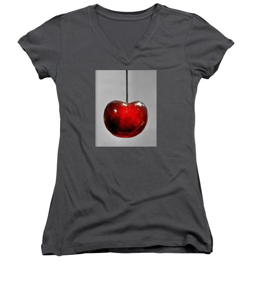 Women's V-Neck T-Shirt (Junior Cut) featuring the photograph Suspended Cherry by Suzanne Stout
