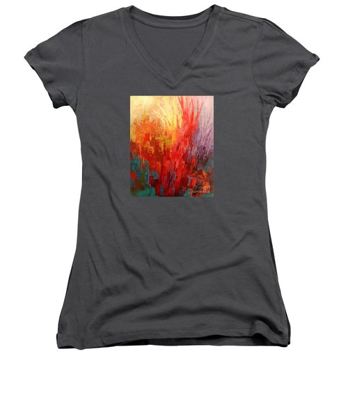 Women's V-Neck T-Shirt (Junior Cut) featuring the painting Swagger Of A Troubador by Tatiana Iliina