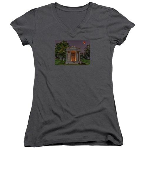Swallow Mausoleum Under The Blood Moon Women's V-Neck T-Shirt (Junior Cut) by Stephen  Johnson
