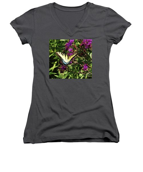 Women's V-Neck T-Shirt (Junior Cut) featuring the photograph Swallowtail On Butterfly Weed by J L Zarek