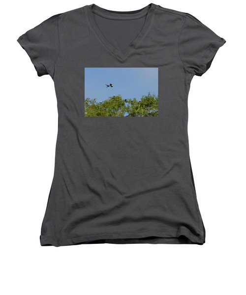Swallow-tailed Kite Flyover Women's V-Neck (Athletic Fit)