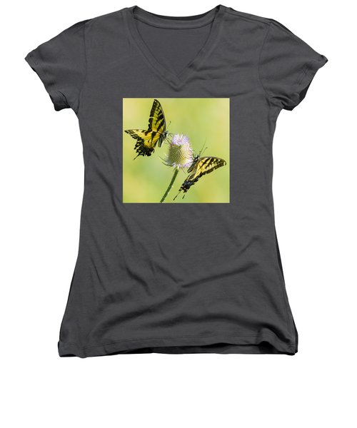 Swallowtails On Thistle  Women's V-Neck