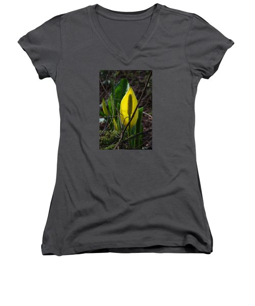 Swamp Lantern Women's V-Neck T-Shirt (Junior Cut) by Adria Trail