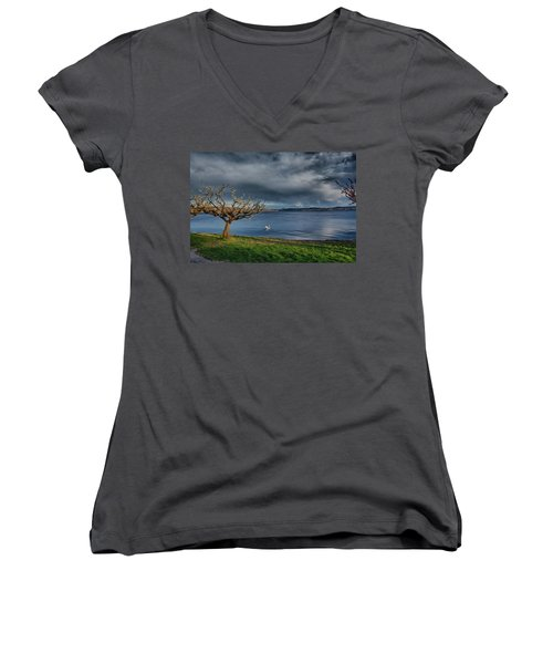 Swan And Tree Women's V-Neck