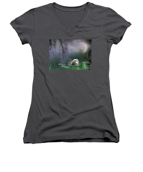 Swan By Moonlight Women's V-Neck (Athletic Fit)