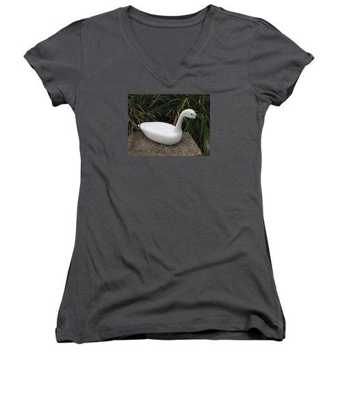 Swan-derful Women's V-Neck T-Shirt (Junior Cut) by Kevin F Heuman