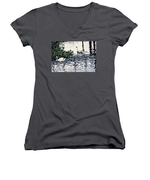 Women's V-Neck T-Shirt (Junior Cut) featuring the photograph Swan Family On The Rhine 3 by Sarah Loft