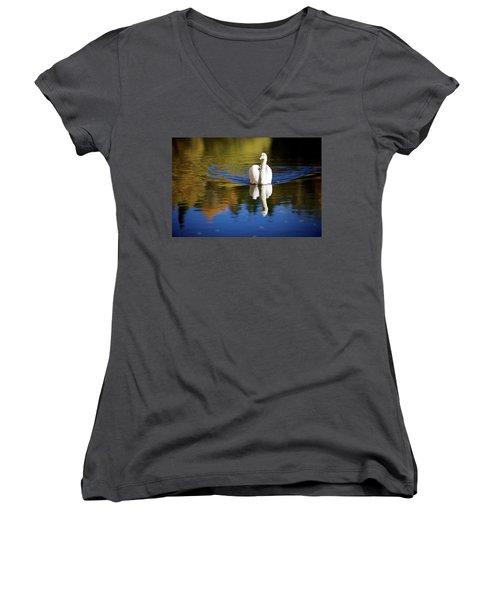 Swan In Color Women's V-Neck T-Shirt (Junior Cut) by Teemu Tretjakov