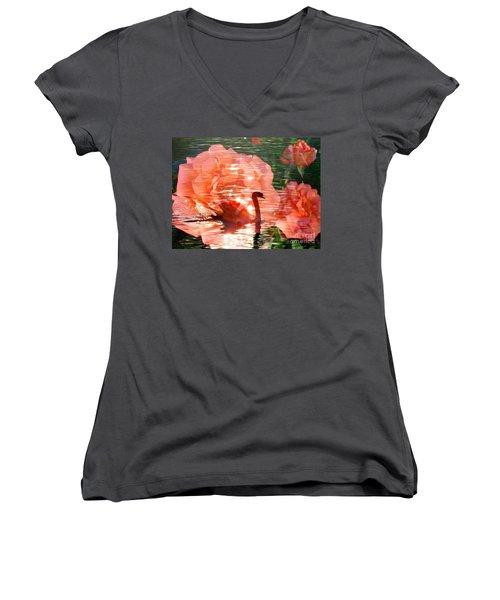 Swan In Lake With Orange Flowers Women's V-Neck T-Shirt (Junior Cut) by Annie Zeno