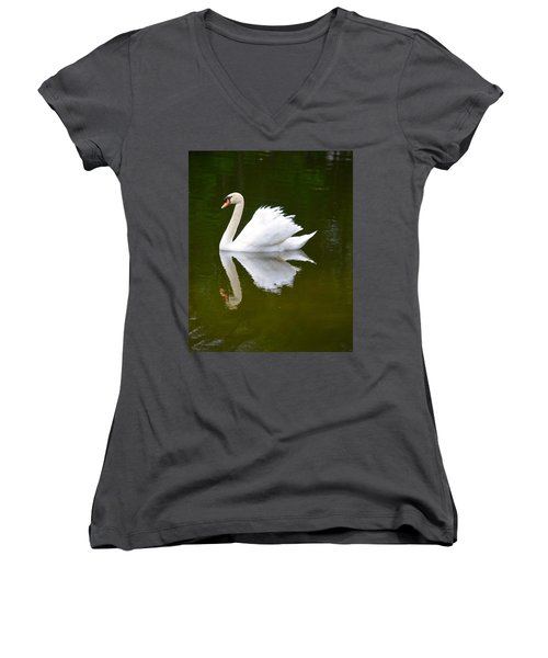 Swan Reflecting Women's V-Neck T-Shirt (Junior Cut) by Richard Bryce and Family