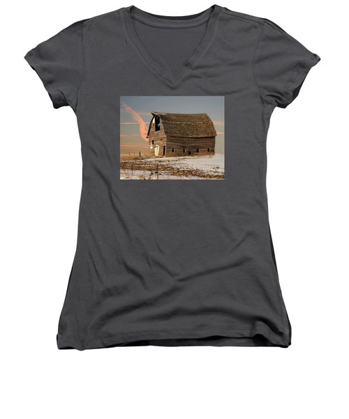 Swayback Barn Women's V-Neck T-Shirt (Junior Cut) by Kathy M Krause