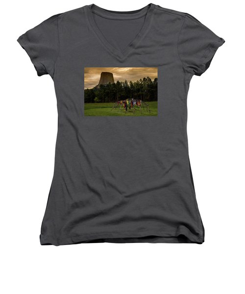 Women's V-Neck T-Shirt featuring the photograph Sweat Lodge At Devil's Tower by Gary Lengyel