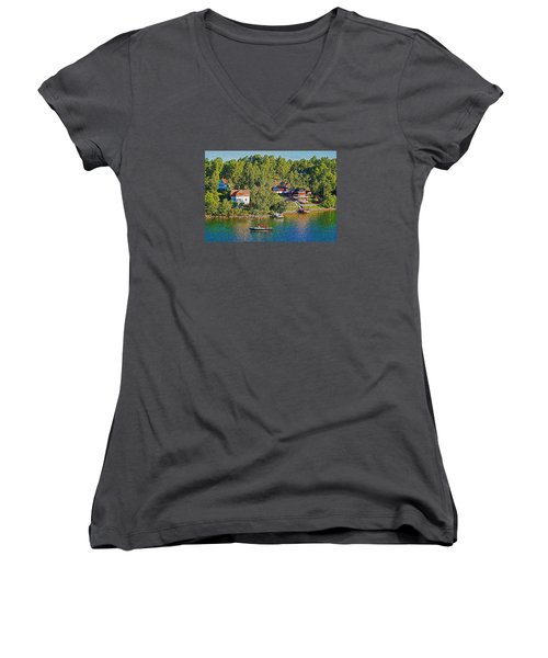 Women's V-Neck T-Shirt (Junior Cut) featuring the photograph Swedish Island Village by Dennis Cox WorldViews
