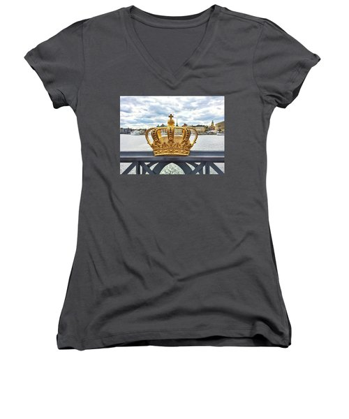 Swedish Royal Crown On A Bridge In Stockholm Women's V-Neck T-Shirt (Junior Cut) by GoodMood Art