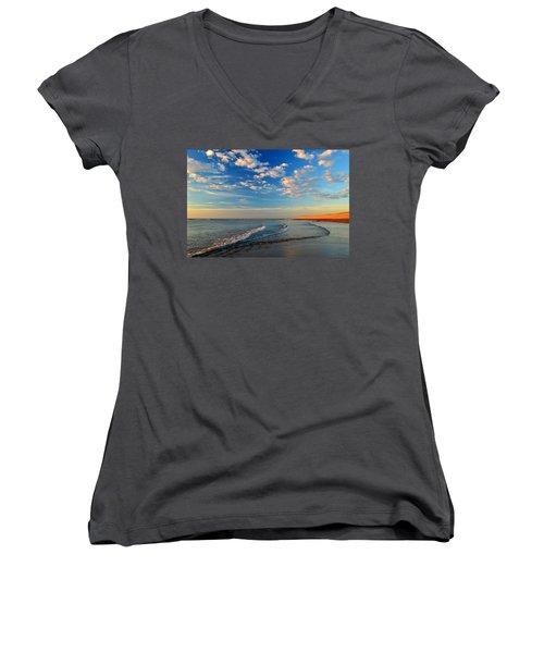 Sweeping Ocean View Women's V-Neck T-Shirt (Junior Cut) by Dianne Cowen