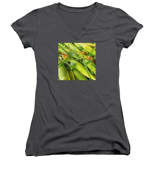 Sweet Corn Women's V-Neck T-Shirt (Junior Cut) by Lewis Mann