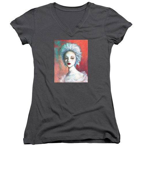 Women's V-Neck T-Shirt (Junior Cut) featuring the painting Sweet Love Remembered by Terry Webb Harshman