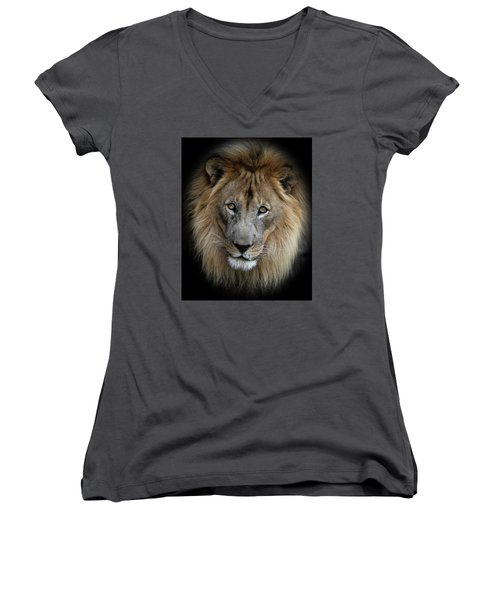 Sweet Male Lion Women's V-Neck (Athletic Fit)
