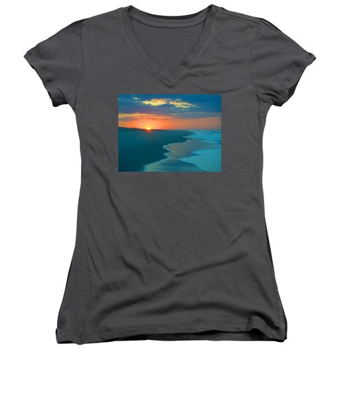 Women's V-Neck T-Shirt (Junior Cut) featuring the photograph Sweet Sunrise by  Newwwman