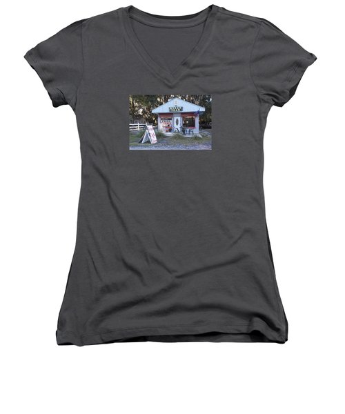 Sweet Teas And Fried Chicken Women's V-Neck T-Shirt (Junior Cut) by Suzanne Gaff