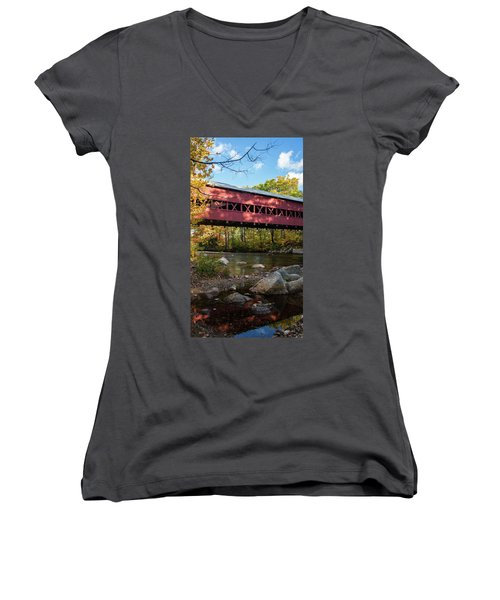 Swift River Covered Bridge Women's V-Neck