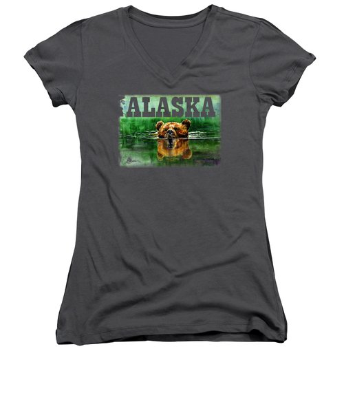 Swiming Grizzly Shirt Women's V-Neck (Athletic Fit)