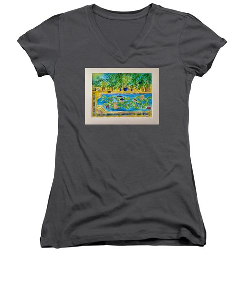 Swimming With Waterlilies And Fish Women's V-Neck