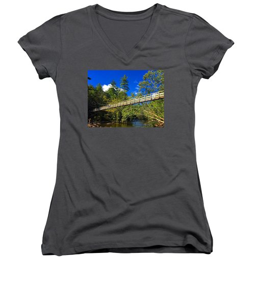 Toccoa River Swinging Bridge Women's V-Neck