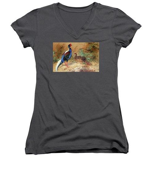 Swinhoe's Pheasant  Women's V-Neck T-Shirt (Junior Cut) by Joseph Wolf