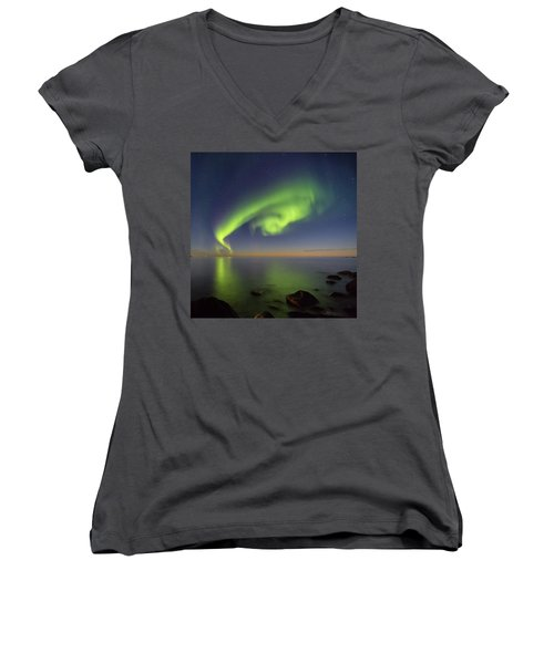 Swirl Women's V-Neck T-Shirt (Junior Cut) by Alex Conu