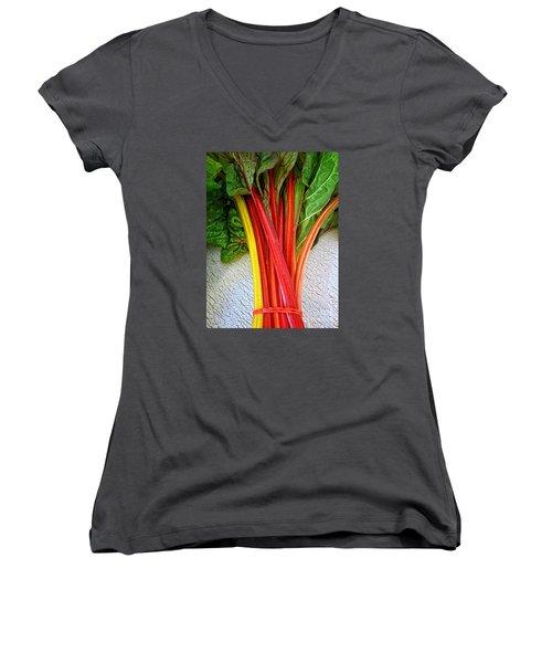 Swiss Chard Women's V-Neck T-Shirt (Junior Cut) by Dee Flouton