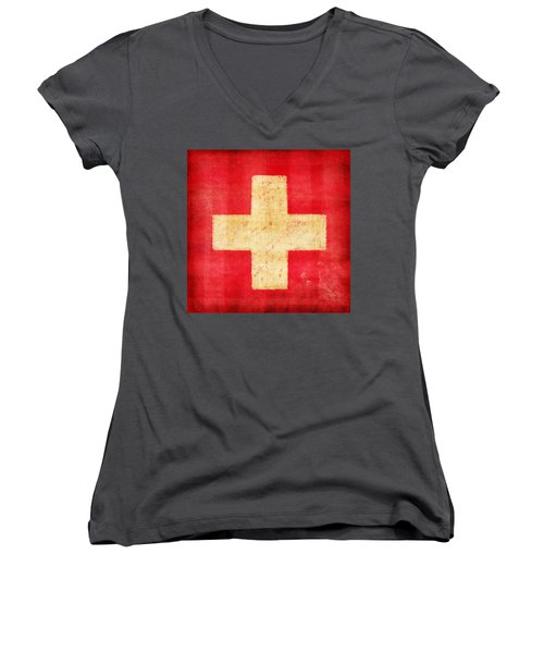 Switzerland Flag Women's V-Neck T-Shirt (Junior Cut) by Setsiri Silapasuwanchai