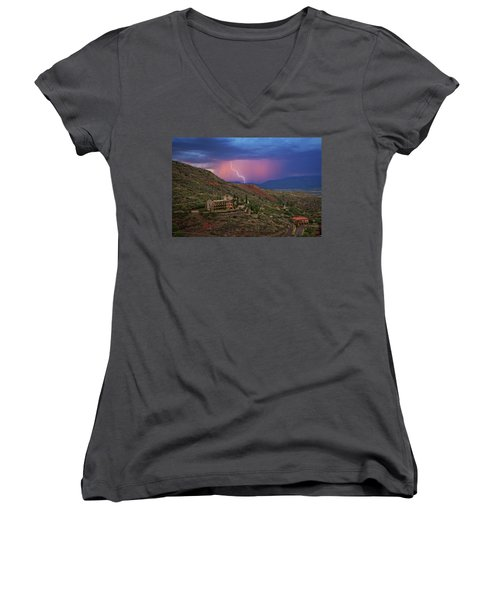 Sycamore Canyon Lightning With Little Daisy Women's V-Neck T-Shirt