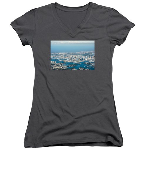 Sydney From The Air Women's V-Neck T-Shirt (Junior Cut) by Parker Cunningham