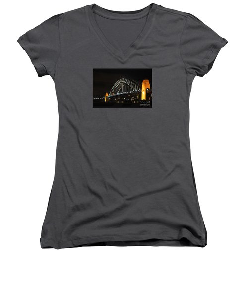 Women's V-Neck T-Shirt (Junior Cut) featuring the photograph Sydney Harbor Bridge At Night by Bev Conover