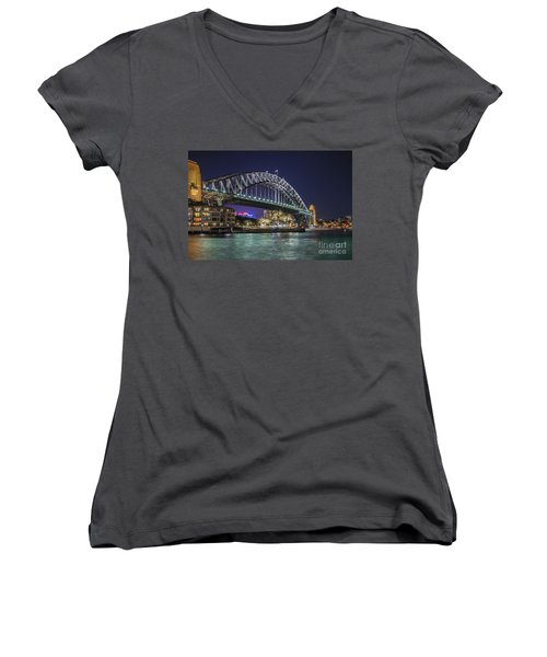 Sydney Harbor Bridge At Night Women's V-Neck