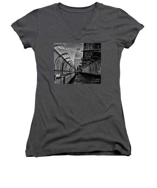 Sydney Harbor Bridge Bw Women's V-Neck T-Shirt (Junior Cut) by Diana Mary Sharpton