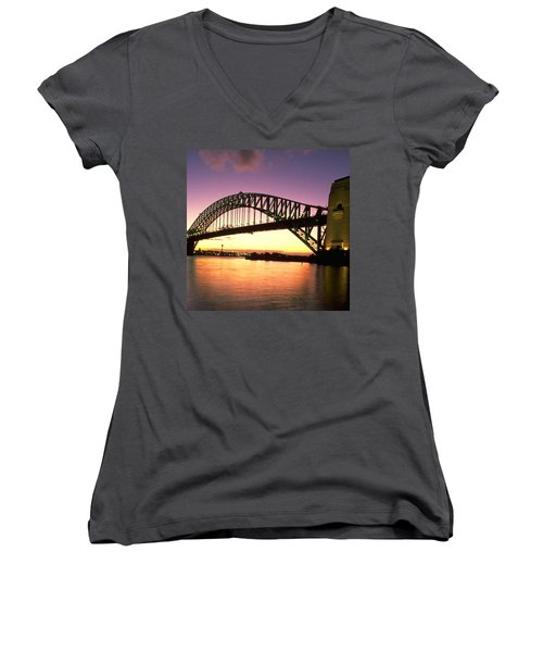 Sydney Harbour Bridge Women's V-Neck T-Shirt (Junior Cut) by Travel Pics