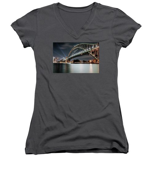 Sydney Harbour Lights Women's V-Neck (Athletic Fit)