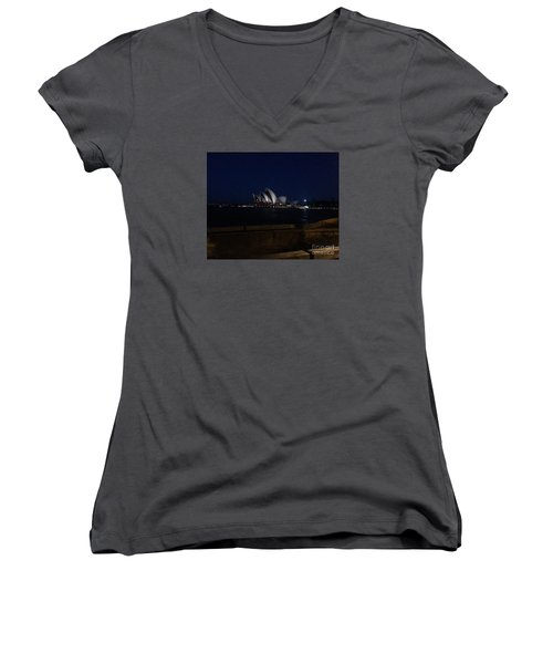 Women's V-Neck T-Shirt (Junior Cut) featuring the photograph Sydney Opera House At Night by Bev Conover