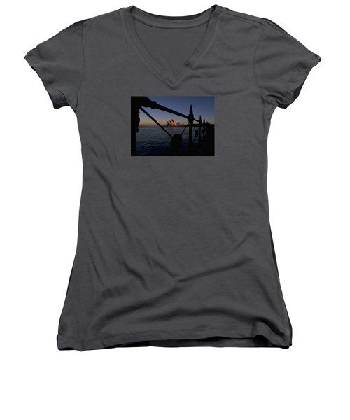 Sydney Opera House Women's V-Neck T-Shirt (Junior Cut) by Travel Pics