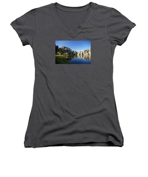 Sylvan Lake, Custer South Dakota Women's V-Neck T-Shirt (Junior Cut) by Karen Cade